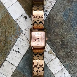 COACH Ladies Page Rose Gold Etched Bangle Watch